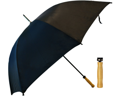 T19 Black Umbrella / Wood Handle