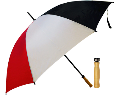 T19 Black+White+Red Umbrella / Wood Handle