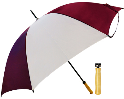 T19 Burgundy+White Umbrella / Wood Handle