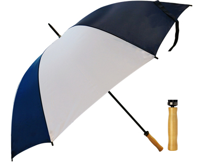 T19 Navy+White Umbrella / Wood Handle