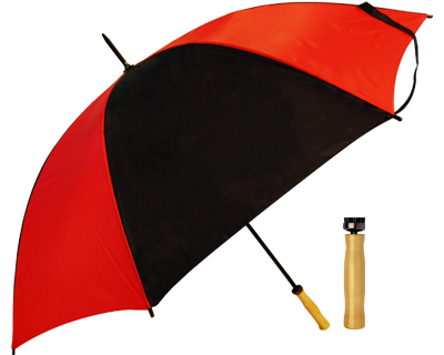 T19 Red+Black Umbrella / Wood Handle