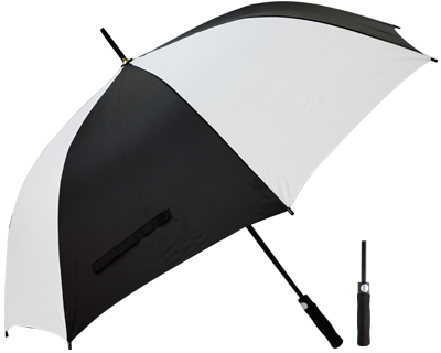 T20 Black+White Umbrella / Push Button Handle