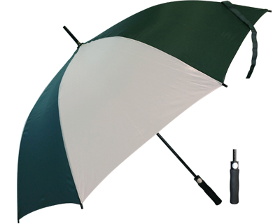T20 Green+White Umbrella / Push Button Handle