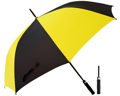 T20 Yellow+Black Umbrella / Push Button Handle
