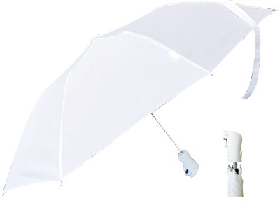 T22 White Collapsible Umbrella / Push Button Handle