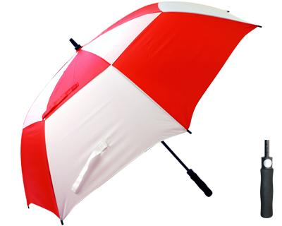 T30 Red+White Thunderstorm Umbrella / Push Button Handle