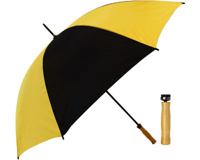 T19 Black+Yellow Umbrella / Wood Handle