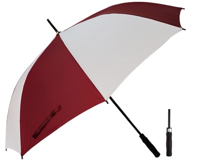 T20 Burgundy+White Umbrella / Push Button Handle