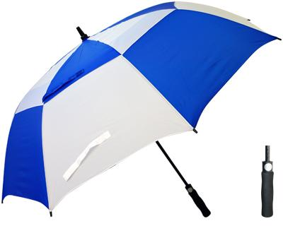 T30 Royal+White Thunderstorm Umbrella / Push Button Handle